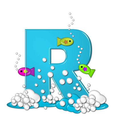 The letter R, in the alphabet set Bubbly Fish, is bright aqua and has bubbles and wave action at bottom of letter.  Transparent layer allows colorfor fish to swim in and out of letter.