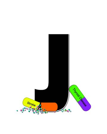 The letter J, in the alphabet set Wellness Check, is black and outlined with white.  RX capsules decorate letter with health diseases on each capsule. 版權商用圖片