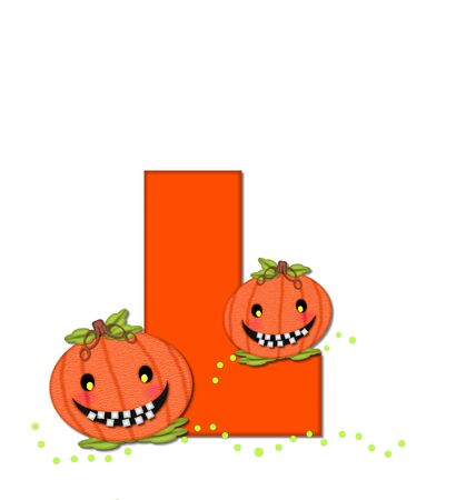 The letter L, in the alphabet set Pumpkin Head, is bright orange. Letter is decorated with smiling, toothy pumpkins and green polka dots.