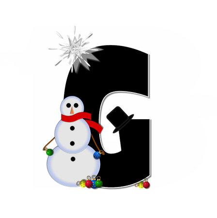 topped: The letter G, in the alphabet set Frosty, is black and decorated with a snowman and Christmas ornaments.  Snowman is wearing a red scarf and alphabet letter is topped with a glowing white star. Stock Photo