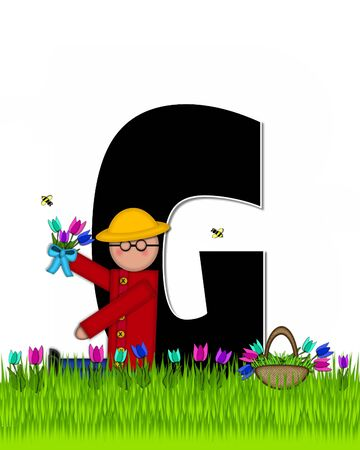 The letter G, in the alphabet set Children Tulip Patch is black outlined with white.  Children hold tulip bouquet and stand in colorful tulip patch.