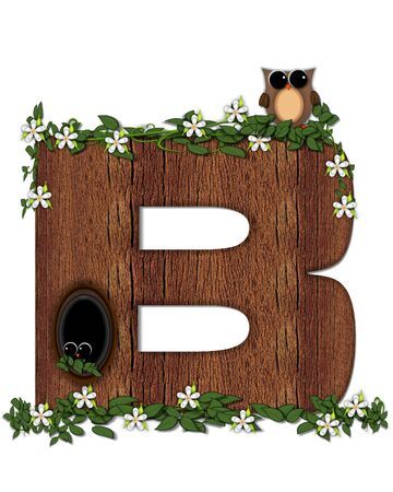 The letter B, in the alphabet set Log Home is filled with wod texture.  Flower bloom on vines hanging on letter.  One owl hides in knothole and the other outside the stump home.