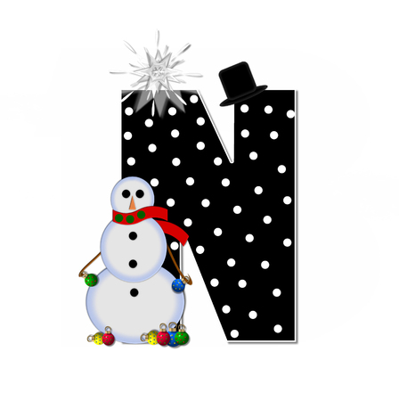 topped: The letter N, in the alphabet set Frosty, is black and decorated with a snowman and Christmas ornaments.  Snowman is wearing a red scarf and alphabet letter is topped with a glowing white star. Stock Photo