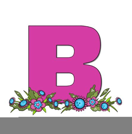 The letter B, in the alphabet set Country Lane Two is pink with black outline.  Letter sits on arrangement of country flowers in pink and blue.