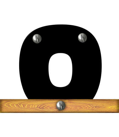 The letter O, in the alphabet set Alphabet Building, is black and riveted with silver screws to a wooden board.