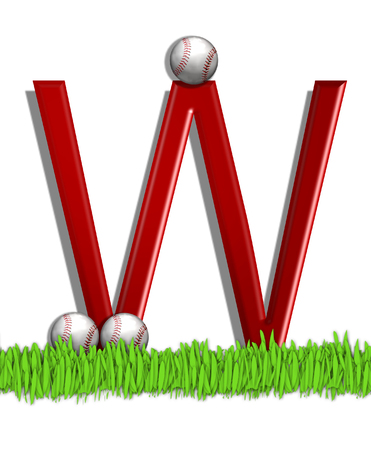 The letter W, in the alphabet set Baseball, is red.  Three baseballs decorate 3D letter.  All sit in a field of green grass. Stock Photo