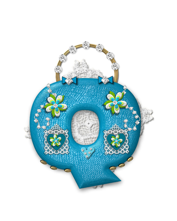 The letter Q, in the alphabet set Bling Bag, depicts aqua letter as a blinged out purse with gold handle.  Letter has lace, diamonds and flowers.  Background framing letter is a lace handkerchief. Stock Photo