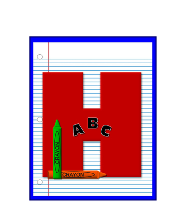 decorate notebook: The letter H, in the alphabet set Grade School Homework  is  red and and sits on background of notebook paper.  Crayons and ABCs decorate letter.