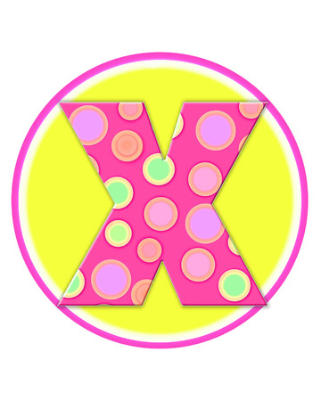 The letter X, in the alphabet set Circle Party is decorated with polka dots in pink, green and orange.  Letter sits on a two color circle of yellow and pink.