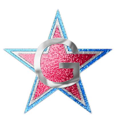 """metalschrott: Der Buchstabe G, im Alphabet gesetzt """"All Star"""" ist silbermetallic. Drei Sterne von roten, weißen und blauen Form Hintergrund. Lizenzfreie Bilder"""
