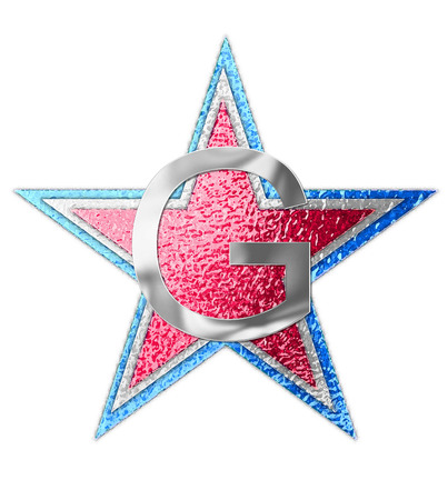 The letter G, in the alphabet set All Star is silver metalic.  Three stars of red, white and blue form background.