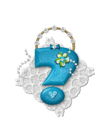 Question mark, in the alphabet set Bling Bag, depicts aqua letter as a blinged out purse with gold handle.  Letter has lace, diamonds and flowers.  Background framing letter is a lace handkerchief.