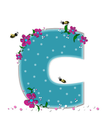 buzzing: The letter C, in the alphabet set Garden Buzz, is aqua.  Each letter is decorated with soft polka dots, flowers and buzzing bees.  Base of letter is covered in pink and white confetti. Stock Photo