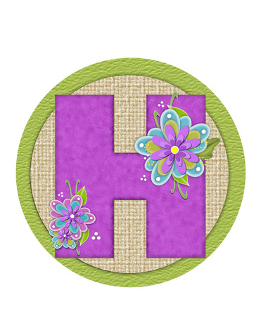 The letter H, in the alphabet set Backyard Bouquet, is lilac and decorated with layered flowers in blue and lilac.  Background circle has woven texture and outlined in green.