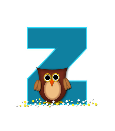 The letter Z, in the alphabet set Owl  is turquoise.  It is decorated with a brown owl and white and yellow polka dots.