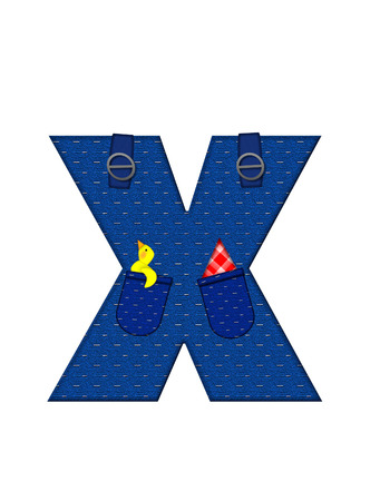 straps: The letter X, in the alphabet set Farmer Brown, is denim with straps and pockets.  Checkered handkerchief peeks out of pocket.