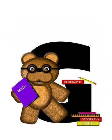 studious: The letter G, in the alphabet set Teddy Learning, is black. Teddy bear decorates letter and he is wearing glasses.  Books and pencils surround him.