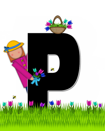 The letter P, in the alphabet set Children Tulip Patch is black outlined with white.  Children hold tulip bouquet and stand in colorful tulip patch. Stock fotó