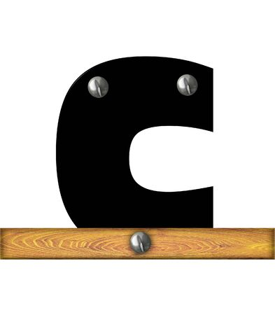 The letter C, in the alphabet set Alphabet Building, is black and riveted with silver screws to a wooden board.