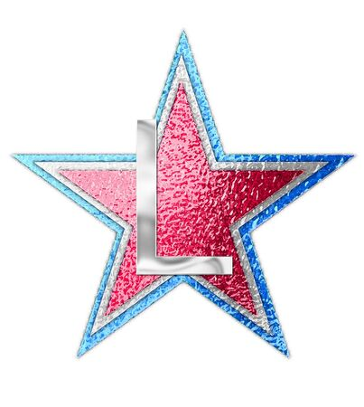 metalic: The letter L, in the alphabet set All Star is silver metalic.  Three stars of red, white and blue form background.