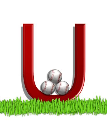 The letter U, in the alphabet set Baseball, is red.  Three baseballs decorate 3D letter.  All sit in a field of green grass.