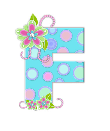 softly: The letter F, in the alphabet set Softly Spotted, is soft aqua.  Letter is decorated with pastel circles, flowers and beads.