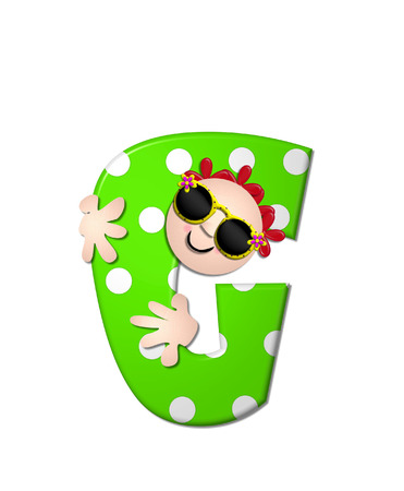 bahama: The letter G, in the alphabet set Bahama Sunny, is vivid green with large white polka dots.  Beach dude peeks his head in and around letter holding it with his hands.