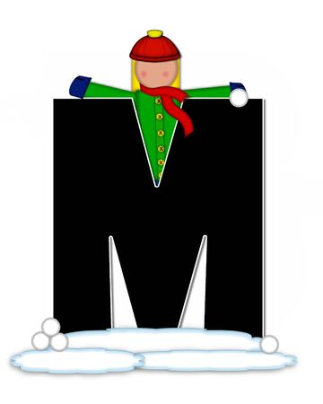snow cap: The letter M, in the alphabet set Children Snow Fight, is black and outlined with white.  Children, dressed in cap, scarf and mittens, hold snowball ready for a fight. Stock Photo