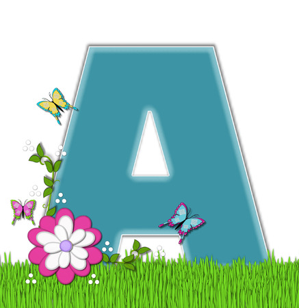 grass flower: The letter A, in the alphabet set Happy Springtime, is turquoise.  Letter is sitting on bright green grass and is decorated with flower and vines.  Butterflies flutter around letter.