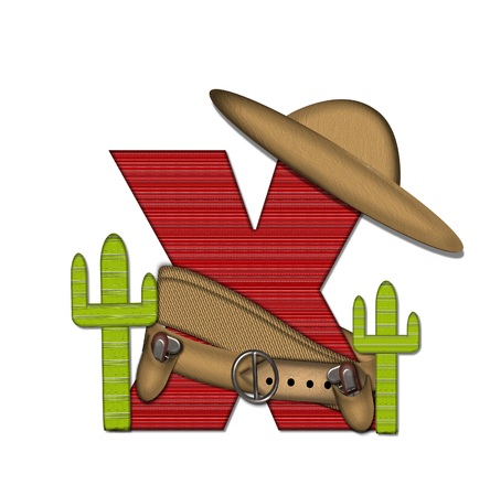 top gun: The letter X, in the alphabet set Bandido, is a red lined, tight woven pattern.  Letter is wearing a gun belt and blanket with a somberro on top.  Two cacti sit at each side.