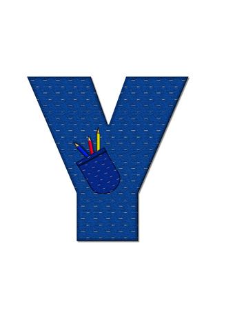 tilted: The letter Y, in the alphabet set School Days, in dressed in denim material with tilted pocket filled with pencils or crayons.  An apple with a worm sometimes decorates base of letters. Stock Photo