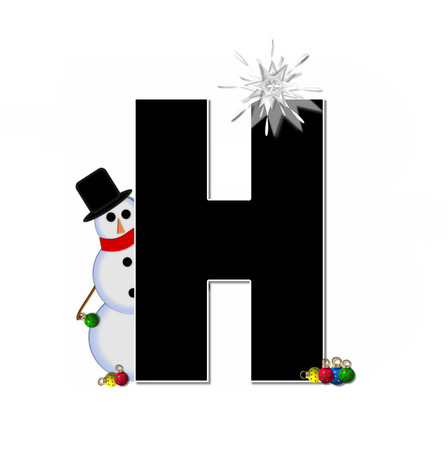 icy: The letter H, in the alphabet set Frosty, is black and decorated with a snowman and Christmas ornaments.  Snowman is wearing a red scarf and alphabet letter is topped with a glowing white star. Stock Photo