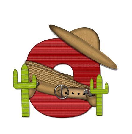 """문자 """"O""""는 알파벳 세트 """"Bandido""""에서 빨간색으로 줄 지어 꽉 짜인 패턴입니다. 편지 위에 총 벨트와 담요를 착용하고있다. 두 선인장 각"""