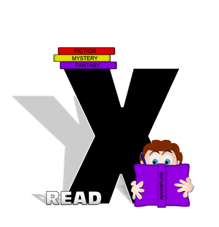 absorbed: The letter X, in the alphabet set Absorbed in Reading, is black and decorated with books and people absorbed in reading.  Stark shadow hangs behind letter.  Books have genre printed on spine binding.