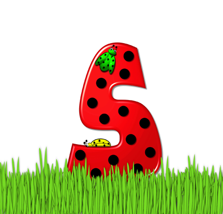 The red letter S, in the alphabet set Lady Bug Red, has large black polka dots and is decorated with 3D ladybugs.  Letter is nestled in tall, garden grass.