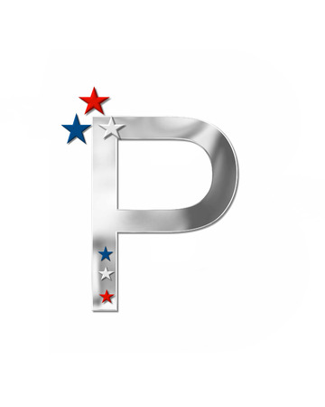 metalic: The letter P, in the alphabet set Plain Patriotism is silver metalic.  Three stars decorate letter with red, white and blue.  Letters coordinate with Alphabet Patriotism.