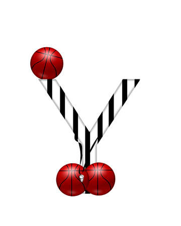 The letter Y,in the alphabet set Referee, is black and white striped.  A whistle, on a black ribbon, and basketballs decorate each letter. Stock Photo