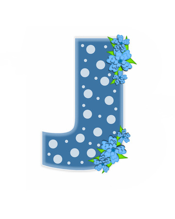 The letter J, in the alphabet set Dusty Blue Dots, is Blue.  Letter is decorated with blue flowers and is covered in large and small polka dots. Stock fotó