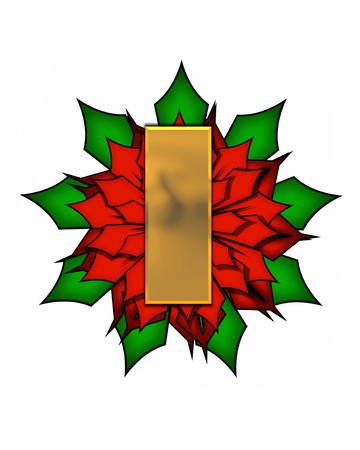 The letter I, in the alphabet set Christmas Poinsettia is shiny gold metallic.  Letter sits on a large red, poinsettia.