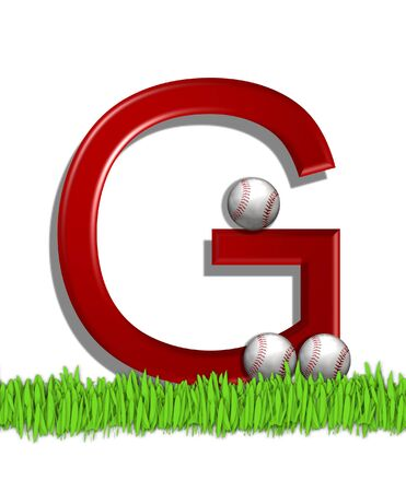 The letter G, in the alphabet set Baseball, is red.  Three baseballs decorate 3D letter.  All sit in a field of green grass.