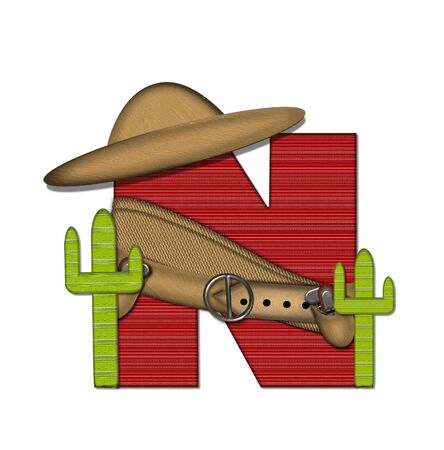 The letter N, in the alphabet set Bandido, is a red lined, tight woven pattern.  Letter is wearing a gun belt and blanket with a somberro on top.  Two cacti sit at each side.