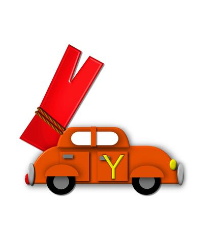 The letter Y, in the alphabet set Alphabet On the Go is tied with rope to transportation vehicles in different colors, shapes and sizes.  Letter is 3D, red and ready to GO! Stock Photo