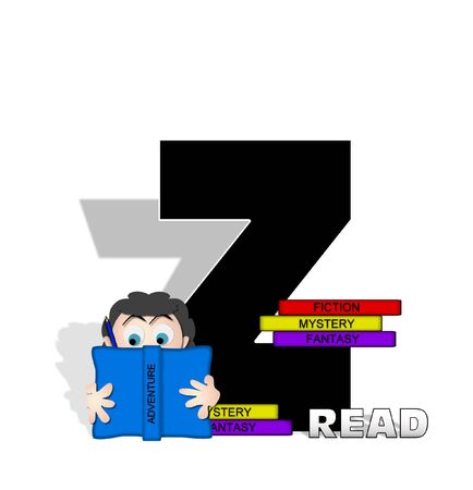 genre: The letter Z, in the alphabet set Absorbed in Reading, is black and decorated with books and people absorbed in reading.  Stark shadow hangs behind letter.  Books have genre printed on spine binding.