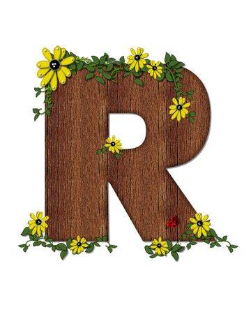 The letter R, in the alphabet set Ladybug and Sunflower is filled with wood texture.  Ladybug, sunflowers and vines decorate letter.