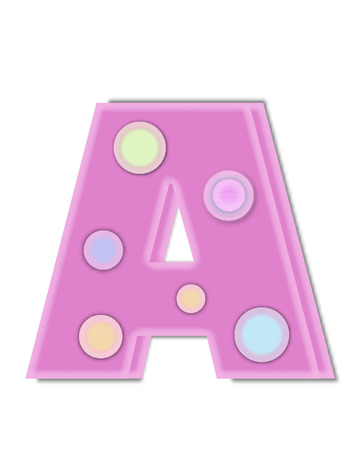 The letter A, in the alphabet set Kaleidoscope, is decorated with two tone polka dots.  Letter is pastel pink with soft, outer edge of white. Stock Photo