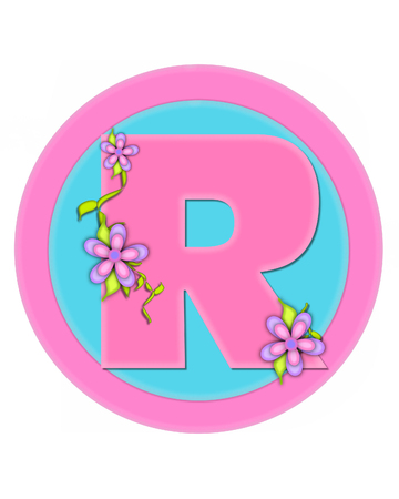 The letter R, in the alphabet set Bouquet in Pastels, is soft pink.  Letter is decorated with flowers and sits on circles in aqua and pink.