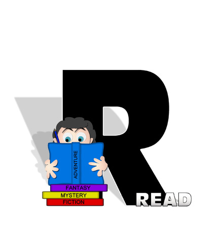 open type font: The letter R, in the alphabet set Absorbed in Reading, is black and decorated with books and people absorbed in reading.  Stark shadow hangs behind letter.  Books have genre printed on spine binding.