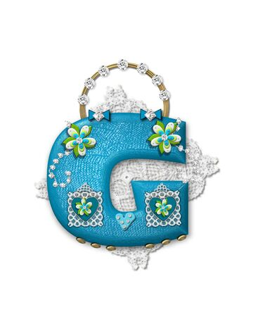 scrap gold: The letter G, in the alphabet set Bling Bag, depicts aqua letter as a blinged out purse with gold handle.  Letter has lace, diamonds and flowers.  Background framing letter is a lace handkerchief.