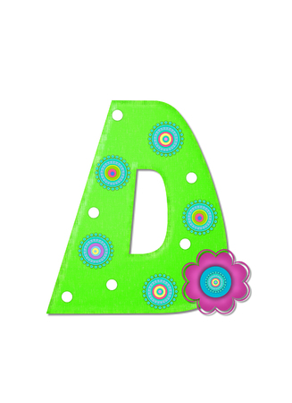 The letter D, in the alphabet set Hippy Power is bright green and decorated with polka dots and 70s style, circles.  Pink and blue daisy decorates side of letter.
