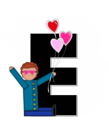 e white: The letter E, in the alphabet set Alphabet Children Valentines is black with white outline.  Children holding valentines shaped ballons decorate letter.